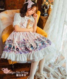 ロリータファッション ロリータ Magic Tea Party アイスクリーム柄編みげジャンパースカート リボン 甘ロリ フリル 膝丈 レース ピンク ブルー イエロー