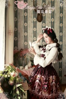 ロリータファッション Magic Tea Party 星空リボンエンジェル ジャンパースカート ベルトセット レース 甘ロリ 編み上げ ワインレッド ダークブルー 女神