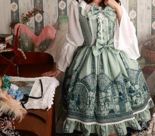 ロリータファッション Magic Tea Party ドレッシープリント編み上げジャンパースカート リボン ボタン ブルー グリーン ブティック 膝丈