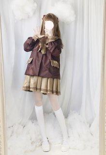 ロリータ 幼稚園風制服2ピース トップス+スカート セットセーラーロリータ 双子コーデ