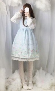 ロリータ 氷の世界ジャンパースカート ジャンスカのみ 雪の結晶 リボン 甘ロリ