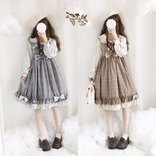 ロリータファッション ロリータ 千鳥格子Autumn長袖ワンピース+カチューシャ セット OP KC 甘ロリ