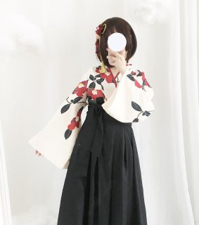 ロリータ 和ロリ 椿柄女学生袴風2ピース tops+bottoms 和風 スカート 和柄 セット