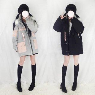 ロリータ ボア付きミニ丈コート コートのみ ファー BF 制服ロリータ 双子コーデ