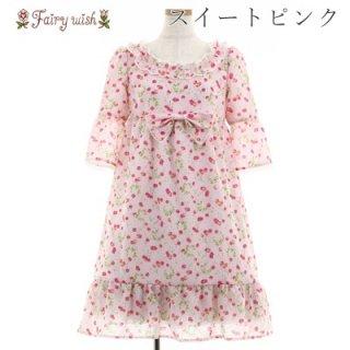 Fairy wish チェリープリズムワンピース 七分袖 夏 サクランボ フレア レース フリル