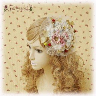 Fairy wish ストロベリーガーデンのヘッドドレス イチゴ 小花 シルク チュール キュート リボン