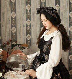 通年 月の女神リボンカチューシャ リボン ゴスロリ 黒ロリ チェック柄  かわいい 大きめリボン カチューシャ ロリータファッション