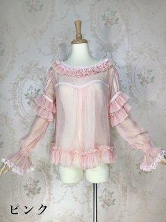 春夏 ロリータシースルー長袖ブラウス まくってもかわいい シースルー 姫袖 シャーリング 甘ロリ 白ロリ ロリータファッション