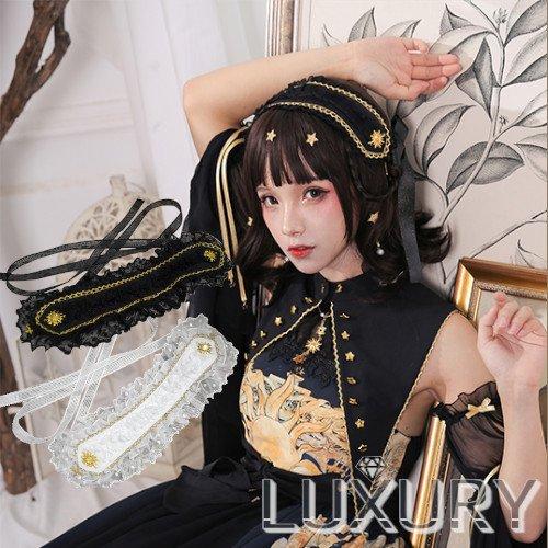 ロリータファッション NyaNya 太陽と月 ヘッドドレス ヘッドドレスのみ販売 クラロリ ゴスロリ ヘアアクセサリー フリル ロリィタ 0906 ,  ロリータゴスロリ専門通販ショップLUXURY[ラグジュアリー]安い価格で可愛いロリータワンピースを取り揃えています