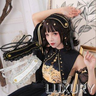 ロリータ NyaNya 太陽と月 ヘッドドレス ヘッドドレスのみ販売 クラロリ ゴスロリ ヘアアクセサリー フリル