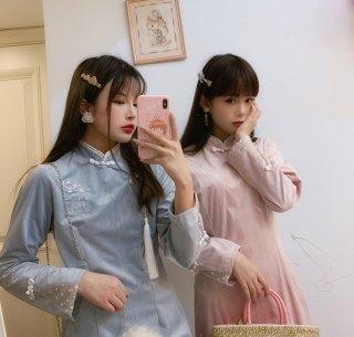 ロリータ 華ロリ うさぎの刺繍ドレス ドレスのみ チャイナドレス ワンピース ワンピ OP 中国結び チャイナ服