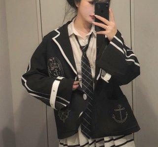 ロリータ マリンルック ジャケット ネクタイプレゼント ワイド袖 制服ロリータ 制服風 学生風 甘ロリ アウター