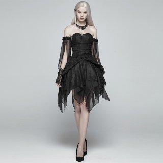 ロリータ PUNK RAVE PYON ゴスロリ ベアトップドレス ドレスのみ ワンピース OP 黒ロリ 変形スカート 悪魔系