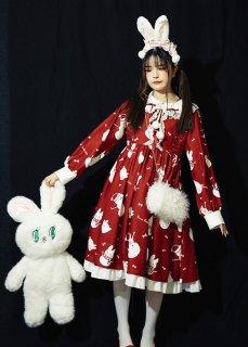 ロリータ 雪だるまウサギのワンピース ワンピのみ販売 OP 甘ロリ うさぎ フリル リボン ドレス 長袖雪だるま ポンポン