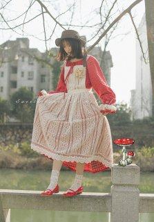 ロリータ SweetDreamer Vintage 森のレースエプロン 純綿 森 甘ロリ エプロンスカート リボン 透け感