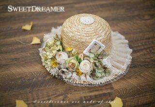 ロリータ SweetDreamer Vintage 花摘み少女の麦わら帽子 帽子のみ ストロー 花 フリル 甘ロリ 姫ロリ リボン