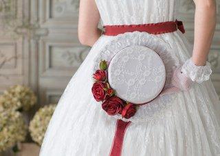 ロリータ Sweet Dreamer Vintage French 深紅のバラ帽子 帽子のみ リボン 薔薇 姫ロリ レース クラロリ ロリィタ ロリータファッショ ホワイト