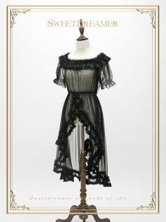 ロリータ SweetDreamer Vintage ブラック シースルー 半袖 ワンピース ワンピのみ ゴスロリ 黒ロリ 重ね着 漆黒 ロリータファッション