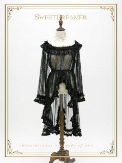 ロリータ Sweet Dreamer Vintage ブラックシースルー長袖ワンピース ワンピのみ ゴスロリ 黒ロリ 重ね着