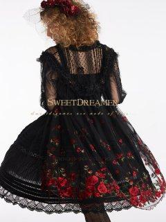 ロリータ SweetDreamer Vintage 黒花嫁の刺繍シースルーワンピース ワンピのみ インナーなし 重ね着 透け ゴス
