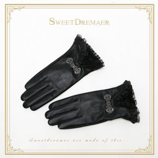 ロリータ SweetDreamer Vintage ブラック革グローブ グローブのみ 一対 ゴスロリ 黒ロリ 防寒 レザー