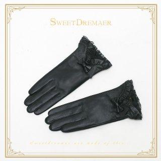 ロリータ SweetDreamer Vintage ブラック革リボングローブ グローブのみ 一対 ゴスロリ 黒ロリ 防寒 レザー