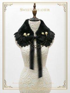 ロリータ SweetDreamer Vintage 冥府の女王 ブラックファー襟 つけ襟のみ ゴスロリ 黒ロリ 防寒 ネックレス