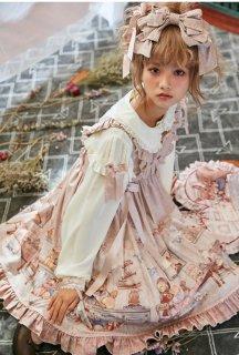 ロリータファッション Annyのbreakfastジャンスカ+カチューシャ set販売 JSK KC ワンピ フリル 甘ロリ リボン ロリータ ロリィタ 1076