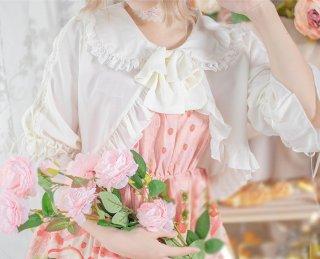 ロリータ レースアップボレロ ボレロ フリル リボン 編み上げ 姫袖 甘ロリ 姫ロリ クラロリ ブラウス 姫 お嬢様 かわいい