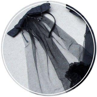 ロリータ 傀儡の花嫁 カチューシャ ベール カチューシャのみ リボン ゴスロリ ロリータ小物 花嫁 黒ロリ 暗黒系