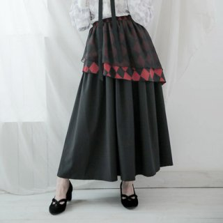 ロリータファッション ゴシックロリータ lolita チェスボードチェック 変形 スカート スカートのみ ロング丈 ブラック レディース ロリータ ゴスロリ クラロリ SK