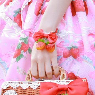 【ポスト投函対応】真っ赤ないちごリボン ブレスレット ブレスレットのみ販売 一個売り 甘ロリ 姫ロリ アクセサリー リボン かわいい お茶会 森 loli1206
