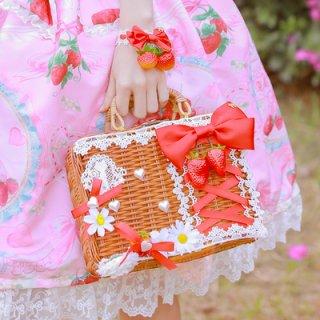 真っ赤ないちごリボン かごバッグA バッグのみ販売 甘ロリ 姫ロリ カバン リボン かわいい お茶会 森 ピクニック loli1207