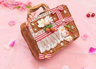 真っ赤ないちごリボン かごバッグB バッグのみ販売 ストライプ 甘ロリ 姫ロリ カバン リボン かわいい お茶会 森 ピクニック loli1208