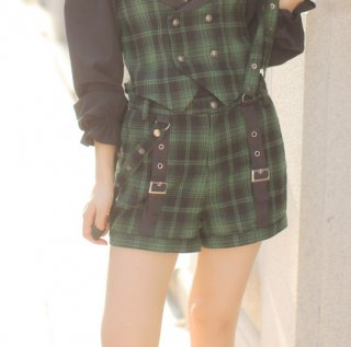 Dolly Delly ロリータ チェック柄 ショートパンツ パンツのみ サスペンダー 制服風 王子系 男装 カジュアル loli1228