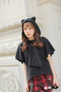 Dolly Delly ロリータ 猫耳フード付き Tシャツ マント風 半袖 Tシャツのみ 春夏 ブラック カジュアル 耳付き loli1243