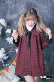 Dolly Delly ロリータ チェス柄 春秋コート セーラーカラー 制服風 クラシカル クラロリ 普段使い リボン ボタン loli1248