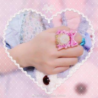 【ポスト投函対応】Wheat House リボンロゼッタリング 指輪 甘ロリ ねこ かわいい ロリータ リボン ロリータ小物 アクセサリー loli1265