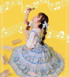 Magic Tea Party カルテットプリントリボン 2個セット ヘアアクセサリー 甘ロリ イエロー ピンク ブルー 演奏 【ポスト投函対応】ik0302