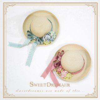 ロリータ Sweet Dreamer Vintage フレンチ麦わら帽子 ストローハット コサージュ 森 クラシカル 甘ロリ loli1291
