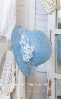 ロリータ SweetDreamerVintage 空色 夏用帽子 ハット リボン 花 コサージュ ロイヤル 紫陽花 クラシカル loli1299