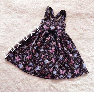 ロリータ Lulu's garden バタフライ柄ジャンパースカート ジャンスカのみ JKS ワンピース 蝶々 クラロリ 甘ロリ loli1349