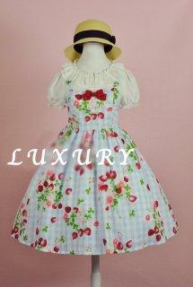 ロリータ Lulu's garden チェック柄フルーツジャンパースカート ジャンスカのみ JSK 甘ロリ 春夏 リボン loli1355