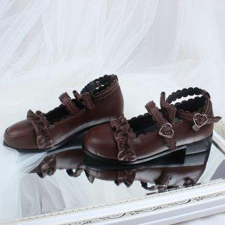 ロリータ ストラップフリルローヒールシューズ ハート 新作 通年 ブラック ベージュ ブラウン 靴 ローファー loli059004