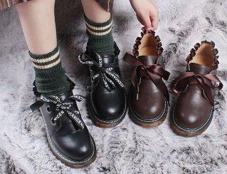 ロリータ リボンフリルローファー 新作 ブラウン ブラック イギリス おぼこ 靴 編み上げ 学生 革靴 loli059005