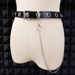 ゴスロリ チェーン付き ベルト シンプル ロック カジュアル 小物 ベルト 細い ハード ブラック  loli1433