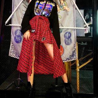 ゴスロリ チェック柄 不規則丈 スカート パンク ロック カジュアル 着やせ効果 ダンス かわいい レッド ロゴ ボトムス loli1438