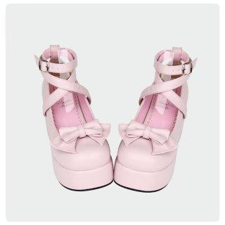 ロリータ おでこ靴 ヒール サイズ豊富 りぼん 安定感 白ロリ 甘ロリ 黒ロリ ゴスロリ ピンク ホワイト ブラック イエロー