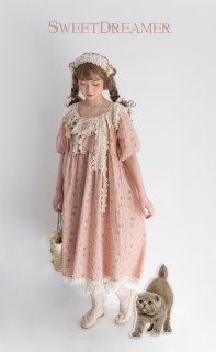 ロリータ Sweet Dreamer Vintage サーカス団のワンピース 受注生産 綿麻 5分袖 レース フリル 森 クラロリ loli1462