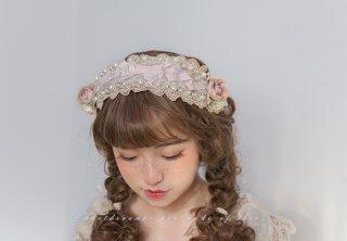 ロリータ SweetDreamerVintage サーカス団のヘッドドレス 受注生産 コサージュ 紐 パール リボン アクセ loli1464
